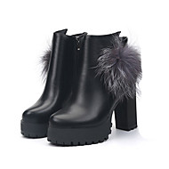 Women's Boots Fashion Boots PU Fall Winter Casual Fashion Boots Pom-pom Chunky Heel Black Ruby 2in-2 3/4in