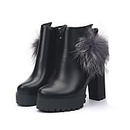 Ženske Čizme Modne čizme PU Jesen Zima Kauzalni Modne čizme Pom-pom Kockasta potpetica Crn Crvena 5 cm - 7 cm
