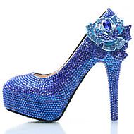 Feminino-Saltos-Conforto Inovador-Salto Alto de Cristal Plataforma-Azul-Couro Ecológico-Casamento Festas & Noite