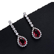 Stud Earrings Zircon Cubic Zirconia Copper Bridal Red Green Blue Jewelry Daily Casual Sports 1 pair