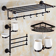 A Set of Four Products(Towel Bar/Bathroom Shelf/Towel Warmer/Soap Dishes/Shower Basket) Of Oil Rubbed Bronze