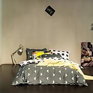 מוצק סטי שמיכה חלק 1 כותנה פולי / כותנה דוגמא הדפסה תגובתית כותנה פולי / כותנה זוגי 4 יחידות (1 כיסוי שמיכה, 2 כיסוי כרית, 1 סדין)