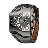 Men's Military Watch Fashion Watch Wrist watch Quartz Dual Time Zones Genuine Leather Band Vintage Casual Black Brand