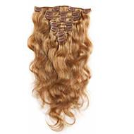 7 100% neitsyt ihmisen hiusten pidennykset leikkeen Remy hiukset kehon aalto koko pään mansikka blondi