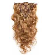 Remy saç vücutta 7a% 100 bakire insan saç uzatma klibi tam bir baş çilek sarışın dalga