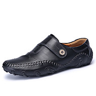 Men's Loafers & Slip-Ons Fall Other Other Animal Skin Outdoor Flat Heel Button Split Joint Black Dark Brown Walking