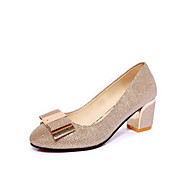 Damen-High Heels-Lässig-PU-Blockabsatz-Komfort-Gold Schwarz