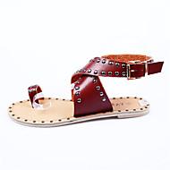 נשים-סנדלים-עור נאפה Leather-נוחות-אדום לבן חאקי-שטח יומיומי-עקב שטוח