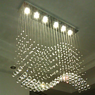 LED Pendant Light 6 Lights Modern Silver Canpoy Transparent Crystal Waves Ceiling Lighting Fixtures