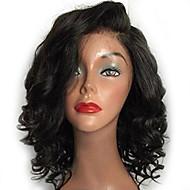 Femei Peruci Păr Uman Păr Natural Față din Dantelă Tresă Față Fără Lipici 130% Densitate Creț Perucă Negru Scurt Mediu Linia naturală de