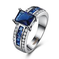 Anel Zircônia cúbica Zircão Cobre Aço Titânio imitação de diamante Azul Jóias Diário Casual 1peça