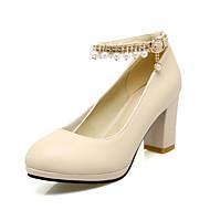 Women's Heels Spring Summer Fall PU Office & Career Casual Party & Evening Chunky Heel Beading Chain TasselWhite Black Beige Blushing