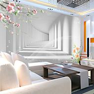 Bloemen Art Deco 3D Wallpaper voor Home Modern Behangen , Canvas Materiaal lijm nodig Muurschildering , kamer Wallcovering