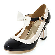 Women's Shoes Chunky Heel Round toe Bowknot T-strap Pump with Buckle More Color Available