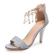 Women's Sandals Spring Summer Fall Patent Leather Glitter Wedding Casual Party & Evening Stiletto Heel Rhinestone Beading Chain Tassel