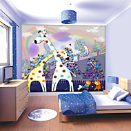 JAMMORY Art DecoWallpaper For Home Wall Covering Canvas Adhesive required Mural Children's Room Cartoon Giraffe XL XXL XXXL