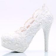 Feminino-Saltos-Conforto Inovador-Salto Agulha Plataforma-Branco-Seda-Casamento Festas & Noite