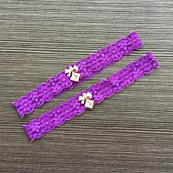 Garter Lace Lace Rhinestone Purple