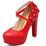 Women's Shoes Chunky Heel Round toe Platform Applique Pump with Buckle More Color Available