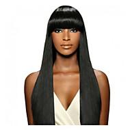 앞머리와 인도 인간의 처녀 머리 자연 검은 색 레이스 앞 레미 스트레이트 가발
