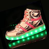 Za dječake Sneakers Proljeće Jesen Udobne cipele PU Ležeran Ravna potpetica LED Crna Ružičasta Bijela Srebrna Zlatna