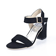 Women's Sandals Summer Other Comfort Pigskin Casual Chunky Heel Buckle Black Green Peach Camel Other