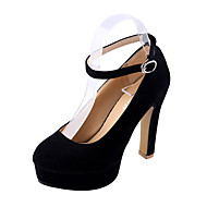 Women's Heels Spring Other PU Casual Chunky Heel Buckle Black Blue Red Other