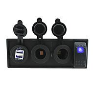 DC 12V/24V led power 3.1A USB port Sockets with rocker switch jumper wires and housing holder