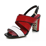 Women's Sandals Spring Summer Fall Gladiator Cowhide Dress Casual Party & Evening Chunky Heel Block Heel Buckle Red Green