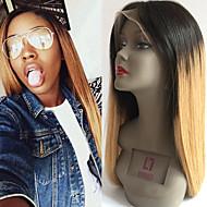 высший сорт Малазийские девственница волос полные парики шнурка прямые волосы два тона Ombre T1B / 27 цвет девственные шнурка человеческих