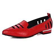 Dame-Kunstlær-Lav hæl-Komfort-Oxfords-Kontor og arbeid Fritid Formell-Svart Rød Hvit Sølv