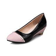 Femme-Bureau & Travail Décontracté-Noir Gris Rose-Talon Compensé-Confort-Chaussures à Talons-Lin Cuir Verni