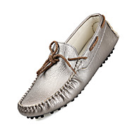 Herre-Lær-Flat hæl-Komfort-一脚蹬鞋、懒人鞋-Fritid-Svart Gul Hvit Gull