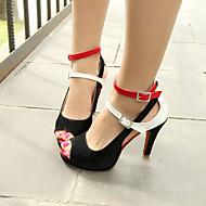 Egyéb-Stiletto-Női cipő-Szandálok-Ruha Alkalmi Party és Estélyi-Gyapjú-Fekete Fehér