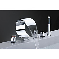 Bathtub Faucet - Contemporary - Handshower Included / Waterfall / Sidespray - Brass (Chrome)