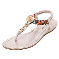 Women's Slippers & Flip-Flops Spring Summer T-Strap Leatherette Outdoor Athletic Casual Flat Heel Wedge Heel Sequin GoreBlack Silver