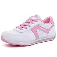 Sneakers-Læder Tyl-Komfort-Damer-Hvid Sort Grå Blå-Udendørs Fritid Sport-Flad hæl