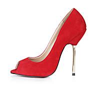 Feminino-Saltos-Conforto-Salto Agulha-Rosa Vermelho Cinza Azul Escuro-Veludo-Escritório & Trabalho Social Casual