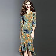 Dame Sexet I-byen-tøj Plusstørrelser Bodycon Kjole Trykt mønster,V-hals Asymmetrisk 1/2 ærmelængde Grøn Polyester Forår EfterårAlm.