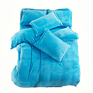 Solid Sengesett 4 deler Polyester Ensfarget Reaktivt Trykk Polyester Full Dronning Konge 1stk Dynetrekk 2stk Trekk 1stk Flatt Laken