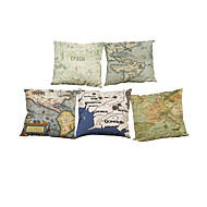 Set of 5 European retro  Map pattern Linen Pillowcase Sofa Home Decor Cushion Cover