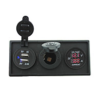 12V / 24V napajanje charger3.1a USB port i struje kliješta mjerač sa držačem Kućište ploče za auto brod kamiona RV (s trenutnim voltmetar)