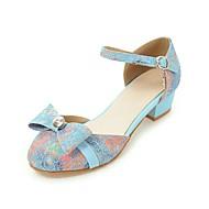 Sandálias-Conforto Tira no Tornozelo Menina Flor Shoes Salto minúsculos para Adolescentes-Salto Grosso-Preto Azul Rosa-Linho-Casamento