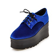 Women's Oxfords Spring Fall Creepers Comfort Ankle Strap Fleece Casual Creepers Lace-up Black Blue Green Red Walking