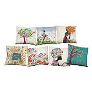 Set of 7 Colorful Floral  pattern Linen Pillowcase Sofa Home Decor Cushion Cover