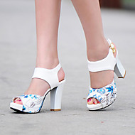Women's Sandals Spring Summer Fall Other PU Party & Evening Dress Casual Chunky Heel Flower Black Blue Green Red