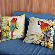 2 pcs Macaw printing Linen Pillow Case Animal Print Modern/Contemporary