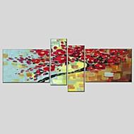 Handgeschilderde Bloemenmotief/Botanisch Schilderijen + Prints,Modern Klassiek Vier panelen Canvas Hang-geschilderd olieverfschilderijFor