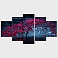 Lámina enmarcada Paisaje Floral/Botánico Modern,Cinco Paneles Lienzos Cualquier Forma lámina Decoración de pared For Decoración hogareña