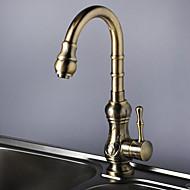 現代風 標準スパウト 洗面ボウル 滝状吐水タイプ with  真鍮バルブ シングルハンドルつの穴 for  アンティーク銅 , 水栓